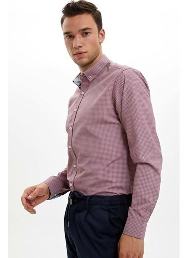 DeFacto Uzun Kollu Slim Fit Gömlek Pembe
